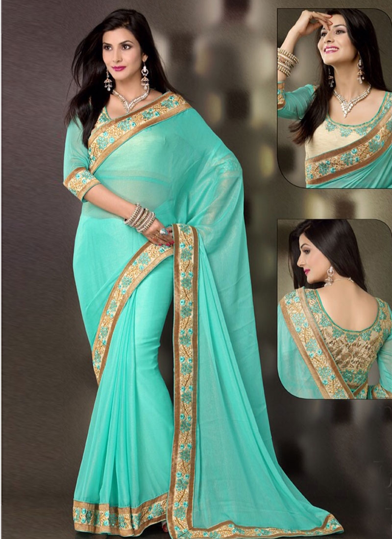 Excellent Turquoise Color Lace Work Party Wear Saree