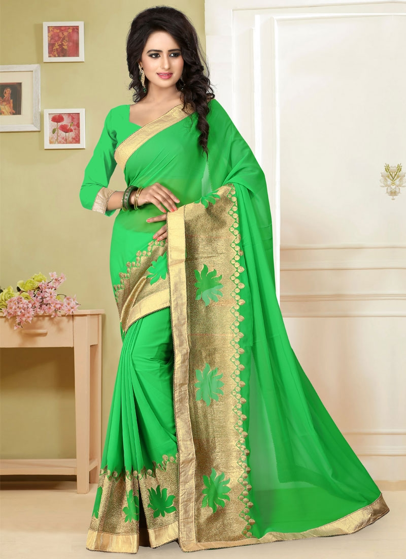 Excellent Zari Work Faux Georgette Party Wear Saree