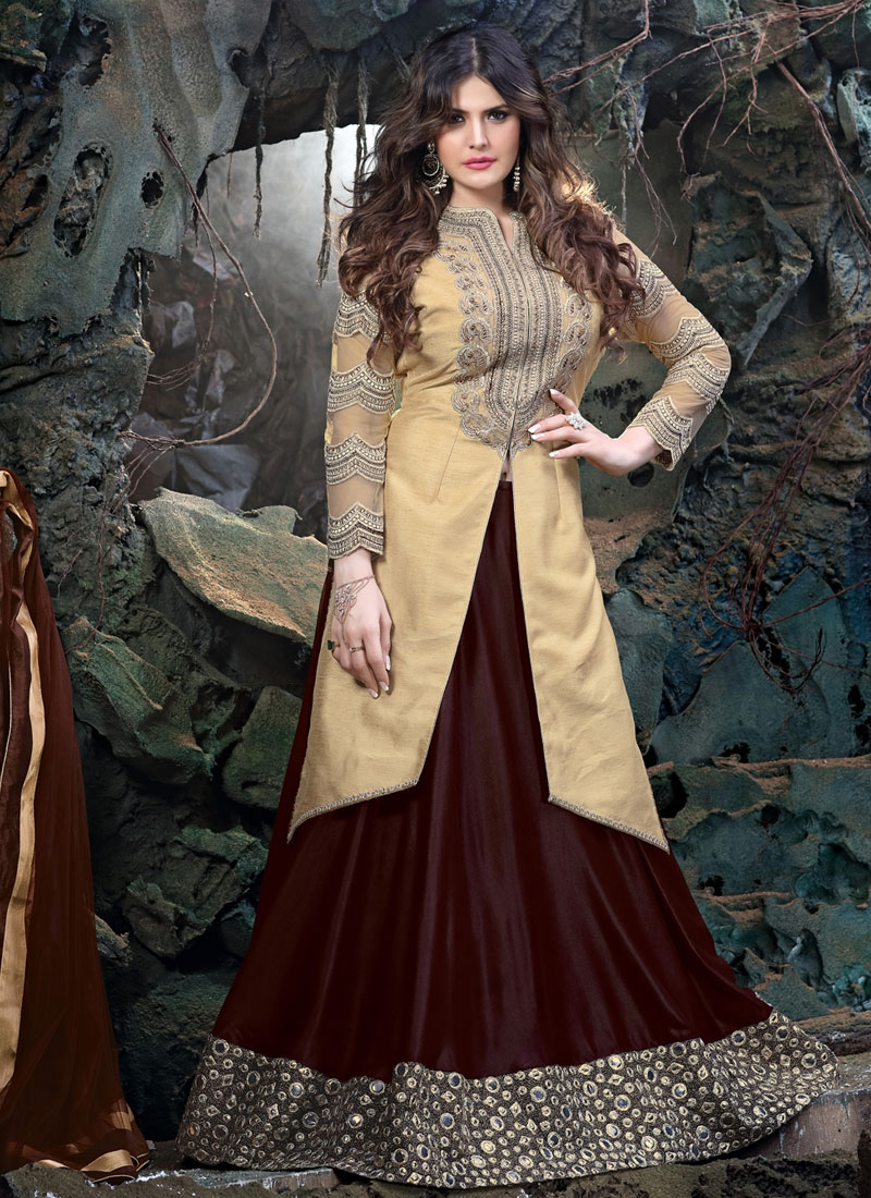 Exceptional Art Dupion Silk Zarine Khan Designer Lehenga Choli