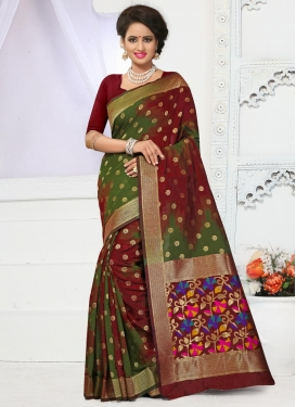 Exceptional Banarasi Silk Maroon and Olive Contemporary Style Saree