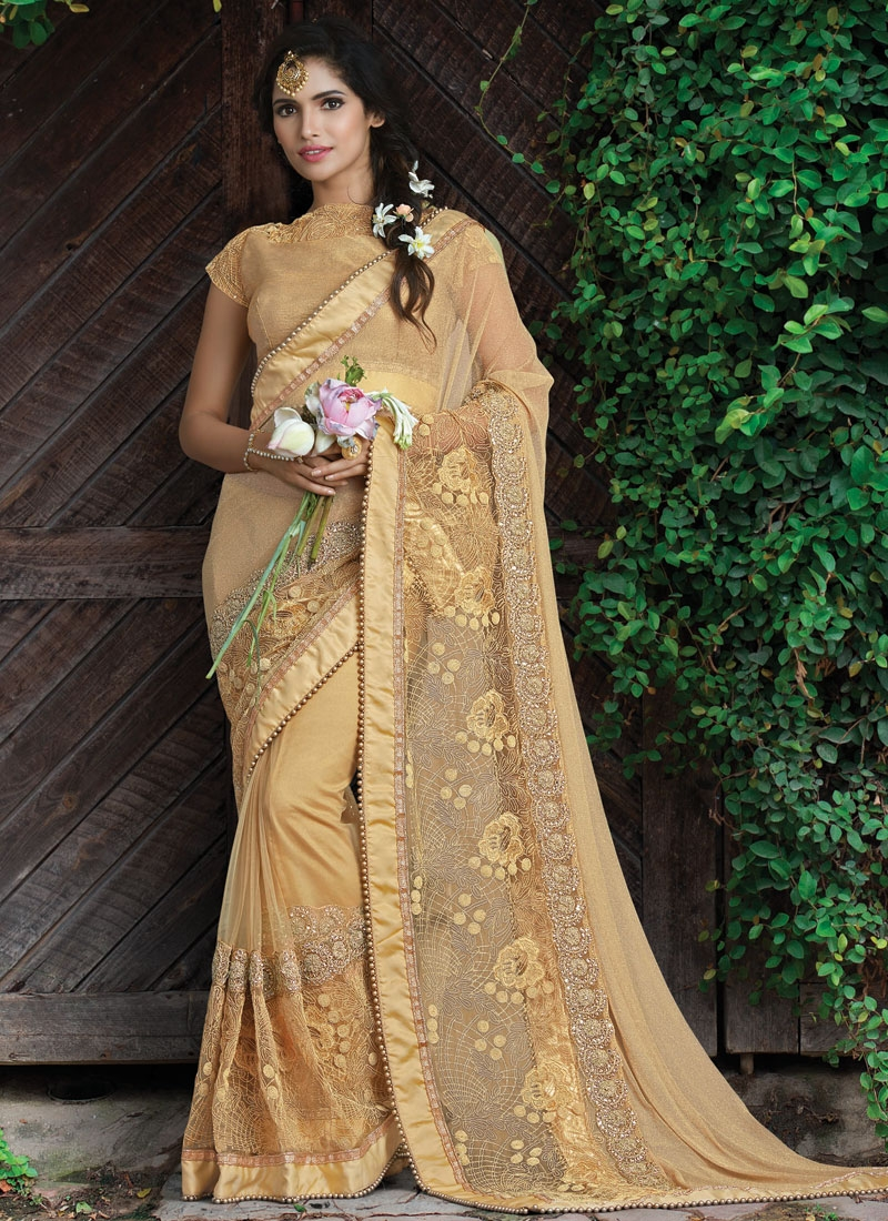 Exceptional Beads And Stone Work Wedding Saree