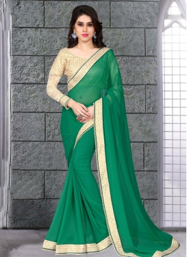 Exceptional Beads Work Faux Georgette Party Wear Saree