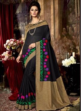 Exceptional Beige and Black Art Raw Silk Trendy Saree