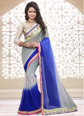 Exceptional Blue Color Stone Work Party Wear Saree