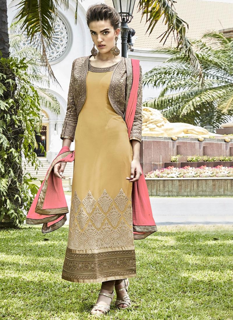 Exceptional Booti Work Jacket Style Designer Salwar Kameez