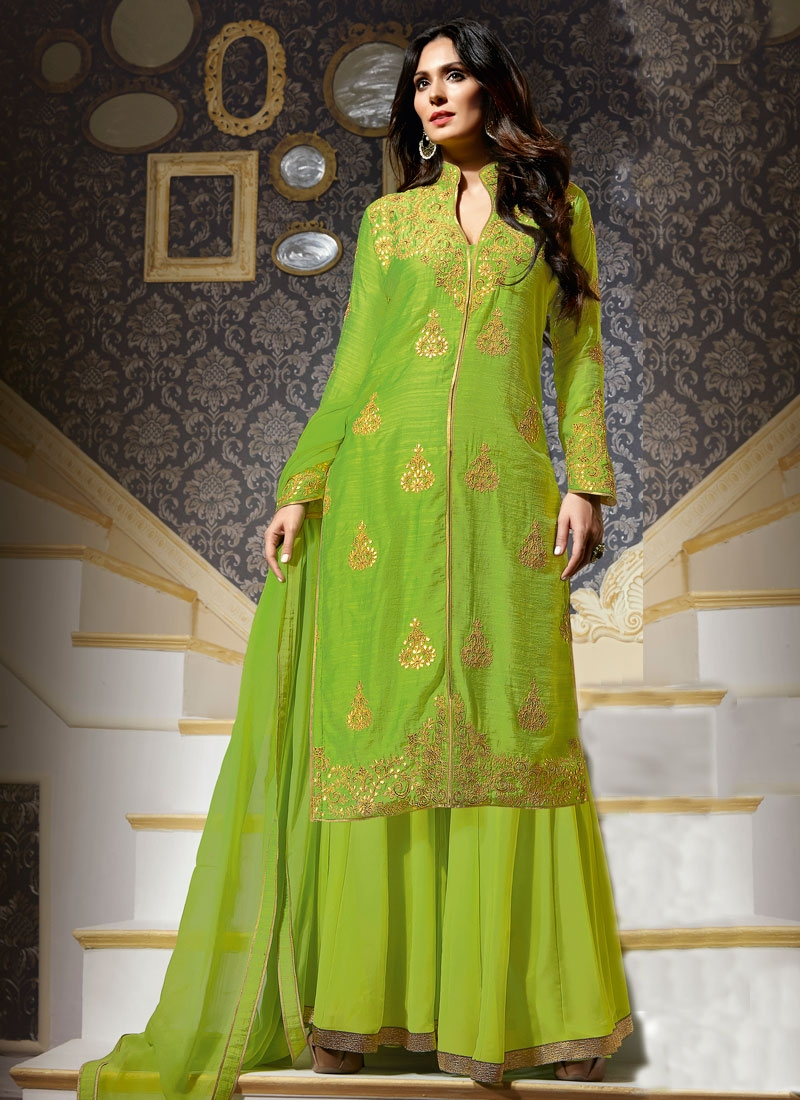 Exceptional Booti Work Palazzo Style Designer Salwar Suit