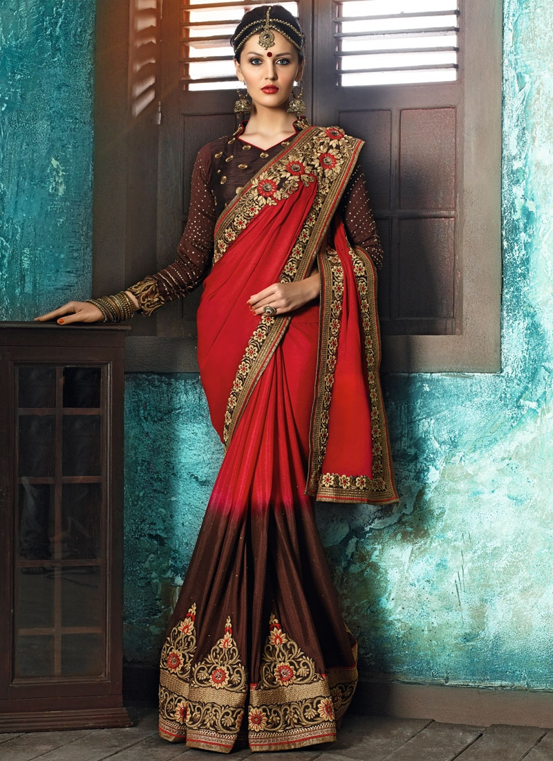 Exceptional Coffee Brown and Crimson Embroidered Work Traditional Saree