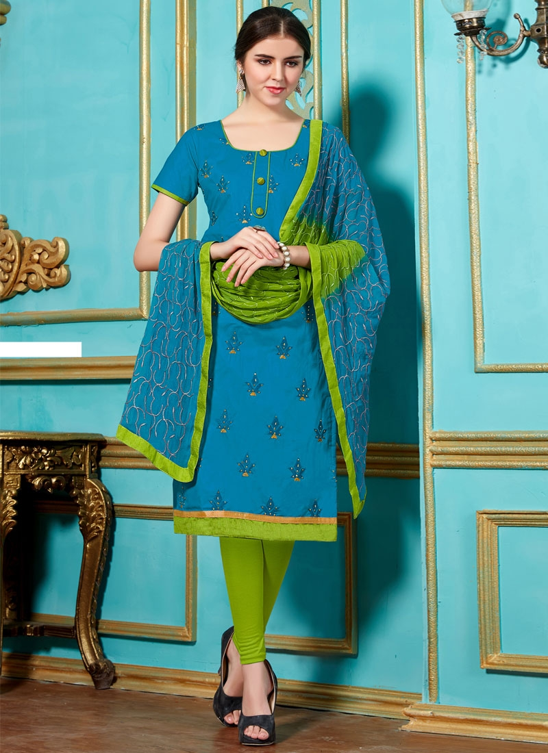 Exceptional Cotton Stone Work Casual Salwar Suit