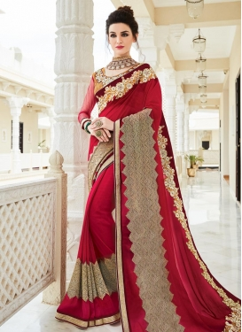 Exceptional Embroidered Work Faux Georgette Traditional Designer Saree
