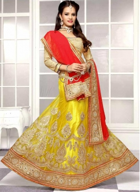 Exceptional Embroidery Work Yellow Color Designer Lehenga Choli