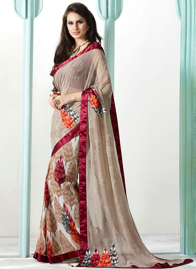 Exceptional Faux Chiffon Digital Print Work Half N Half Casual Saree