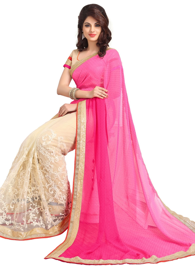 Exceptional Jaal And Sequins Work Party Wear Saree