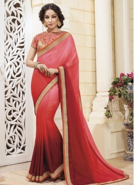 Exceptional Maroon and Red  Trendy Designer Saree