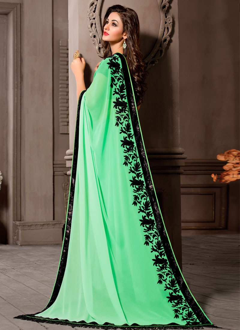 Exceptional Mint Green Color Resham Work Party Wear Saree