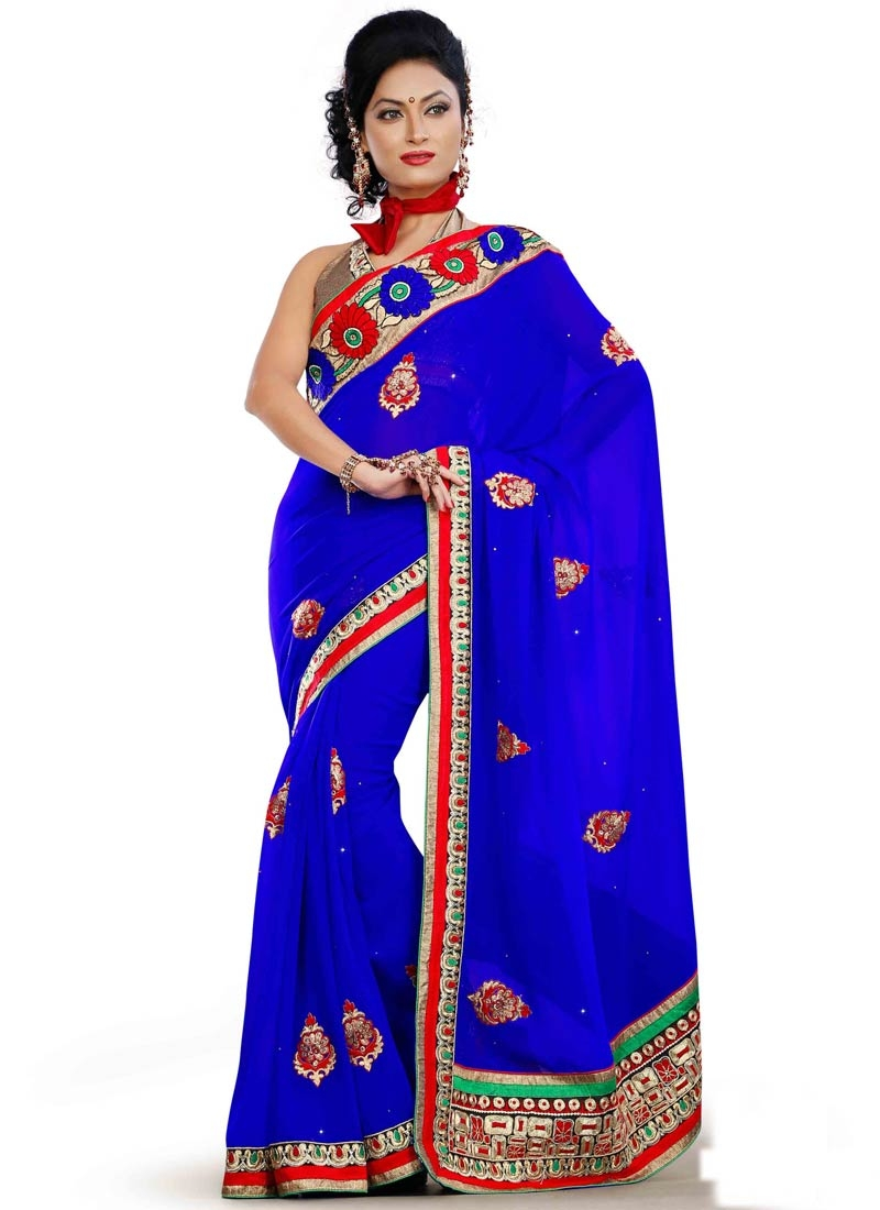 Exceptional Patch Border Work Blue Color Party Wear Saree