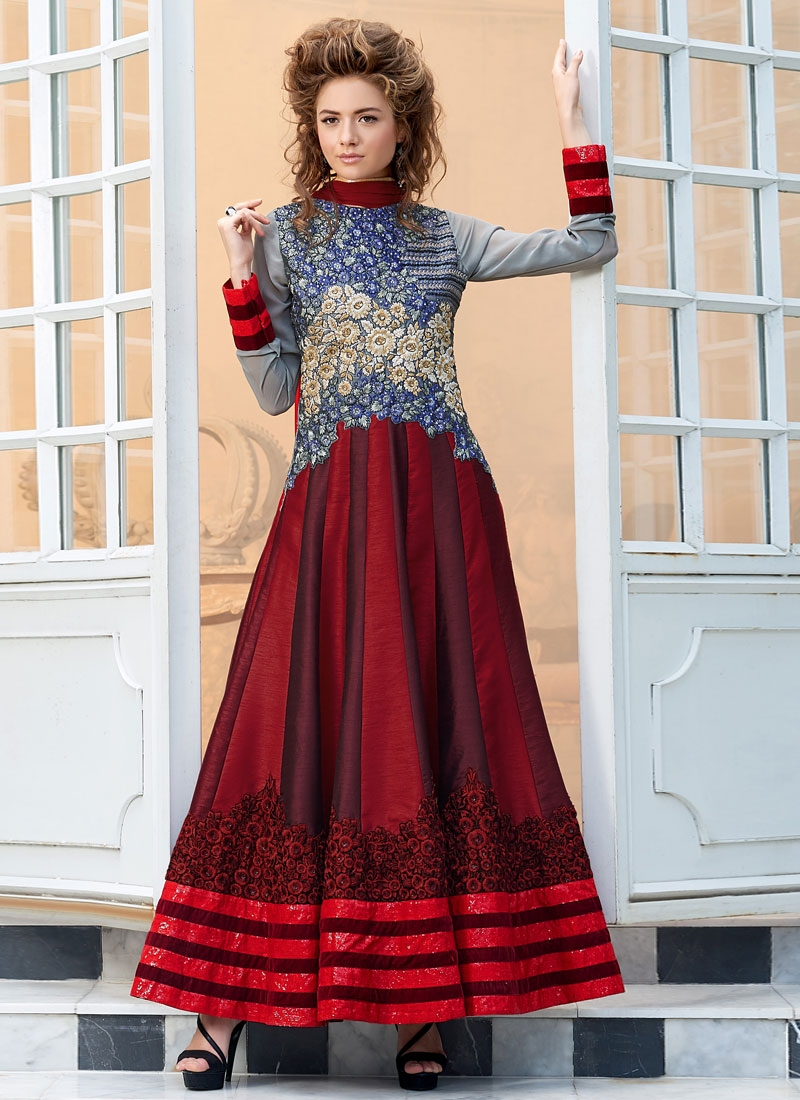 Exceptional Red And Grey Color Anarkali Salwar Kameez