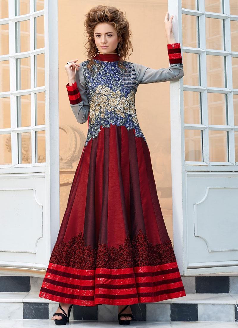 Exceptional Red And Grey Color Anarkali Salwar Kameez
