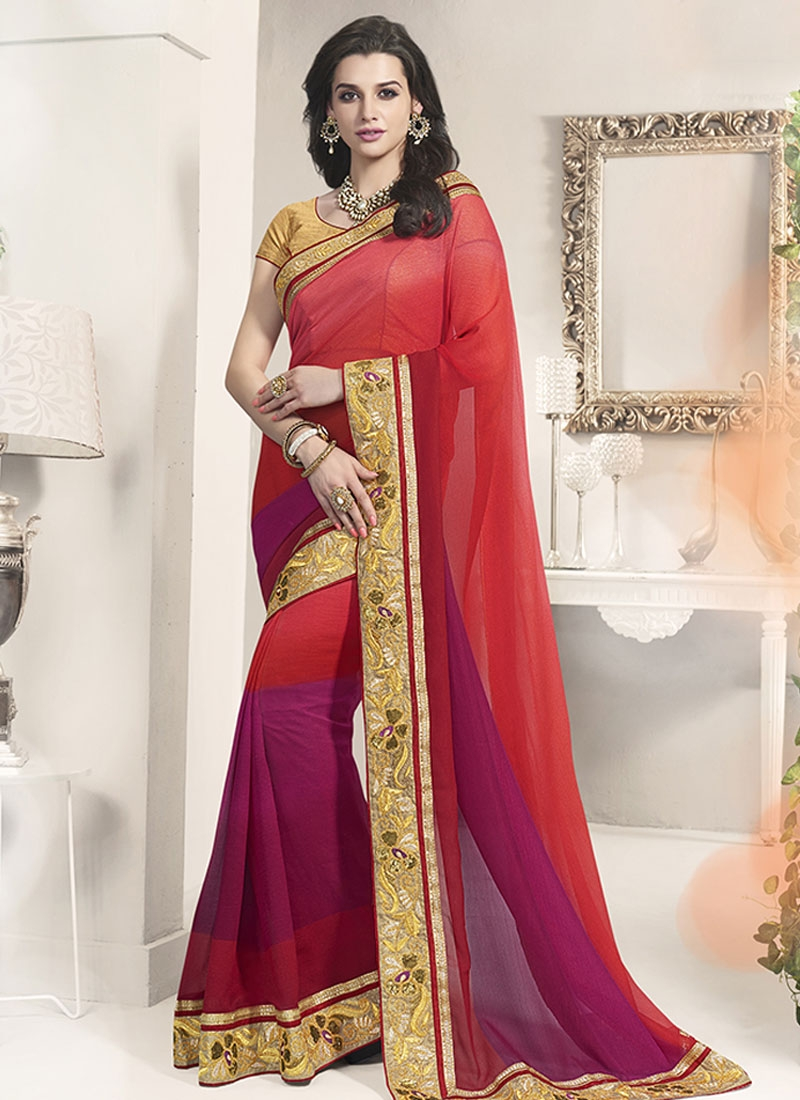 Exceptional Red And Purple Color Party Wear Saree