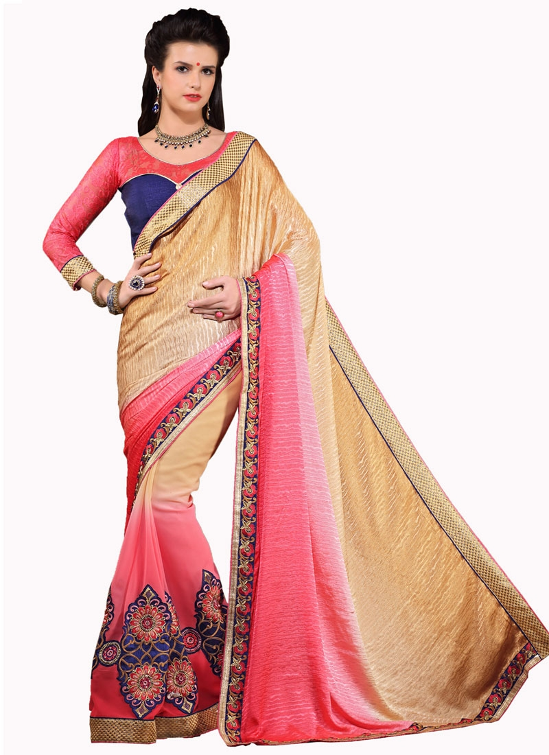 Exceptional Resham Work Half N Half Party Wear Saree