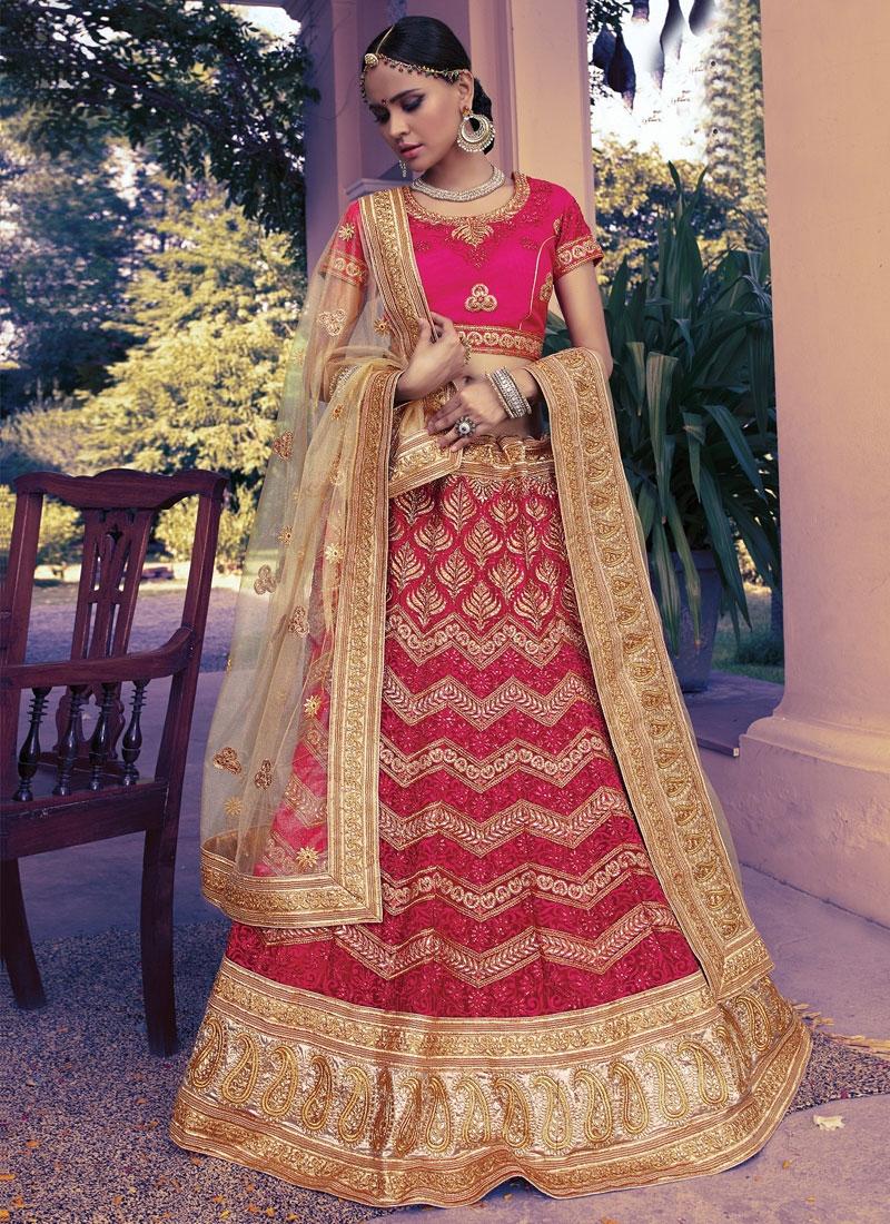 Exceptional Resham Work Net Bridal Lehenga Choli