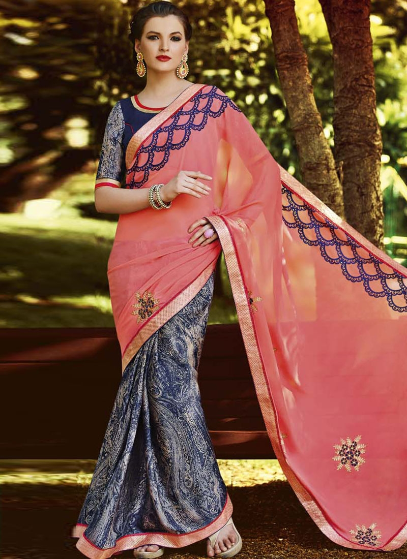 Exceptional Salmon Color Half N Half Party Wear Saree