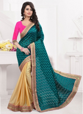 Exceptional Teal Color Half N Half Party Wear Saree
