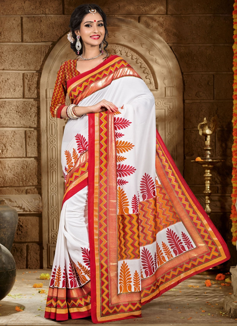 Exceptional White Color Printed Casual Saree
