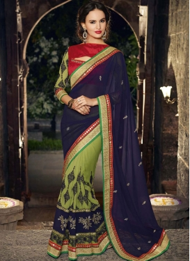 Exciting Booti And Mirror Work Party Wear Saree