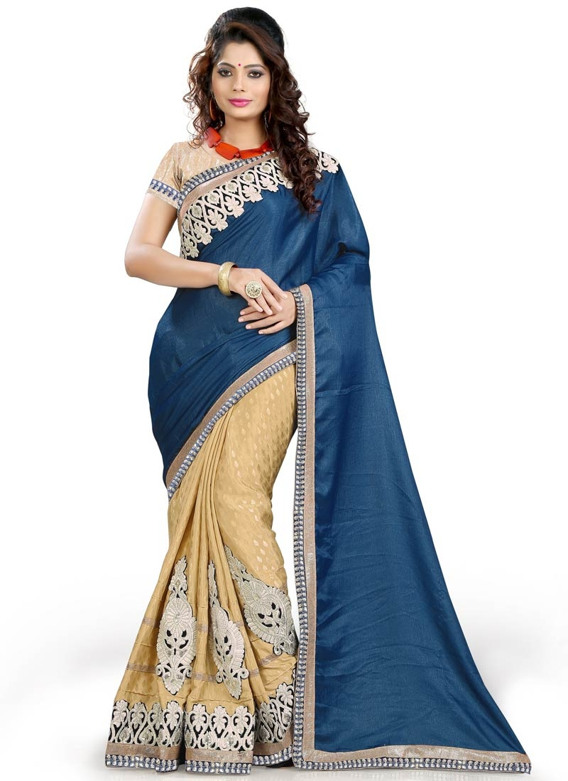 Exciting Booti Work Navy Blue Color Half N Half Party Wear Saree