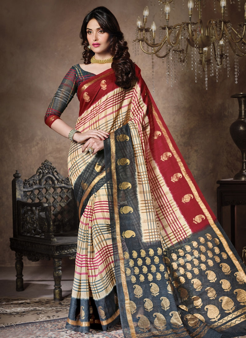 Exciting Cream And Grey Color Casual Saree