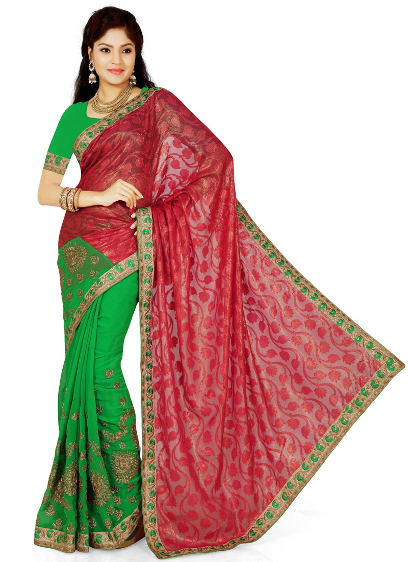 Exciting Embroidery Work Brasso Half N Half Party Wear Saree