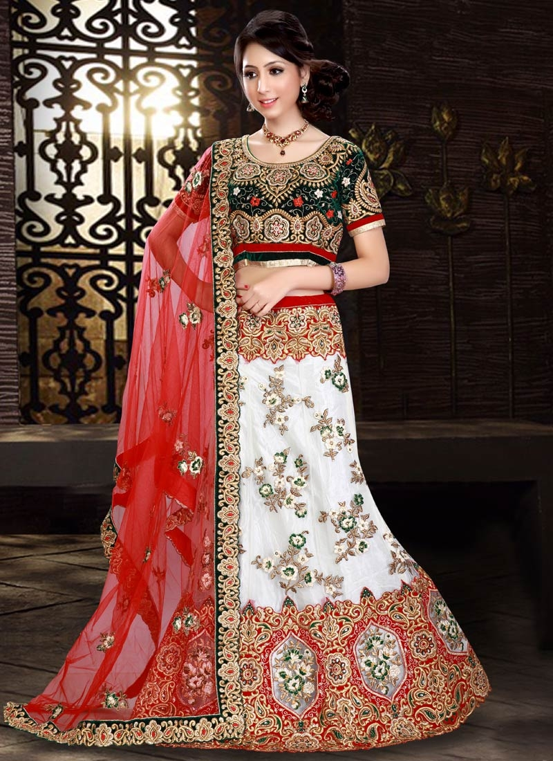 Exciting Embroidery Work White Color Bridal Lehenga Choli