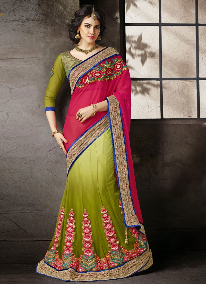 Exciting Floral Work Chiffon And Net Lehenga Saree