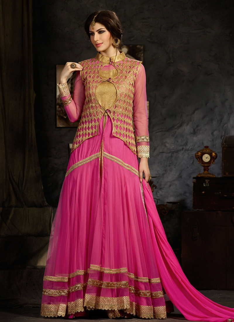 Exciting Hot Pink Color Net Jacket Style Wedding Suit