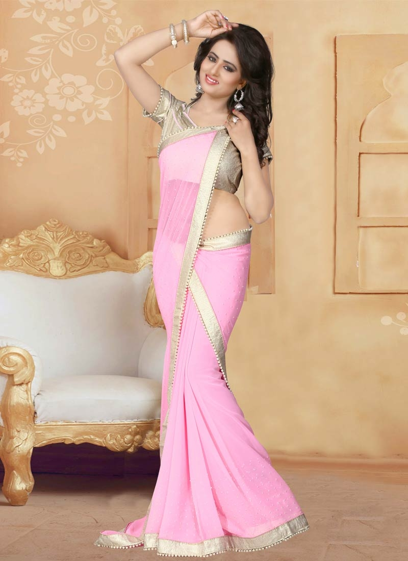 Exciting Lace And Beads Work Pink Color Party Wear Saree