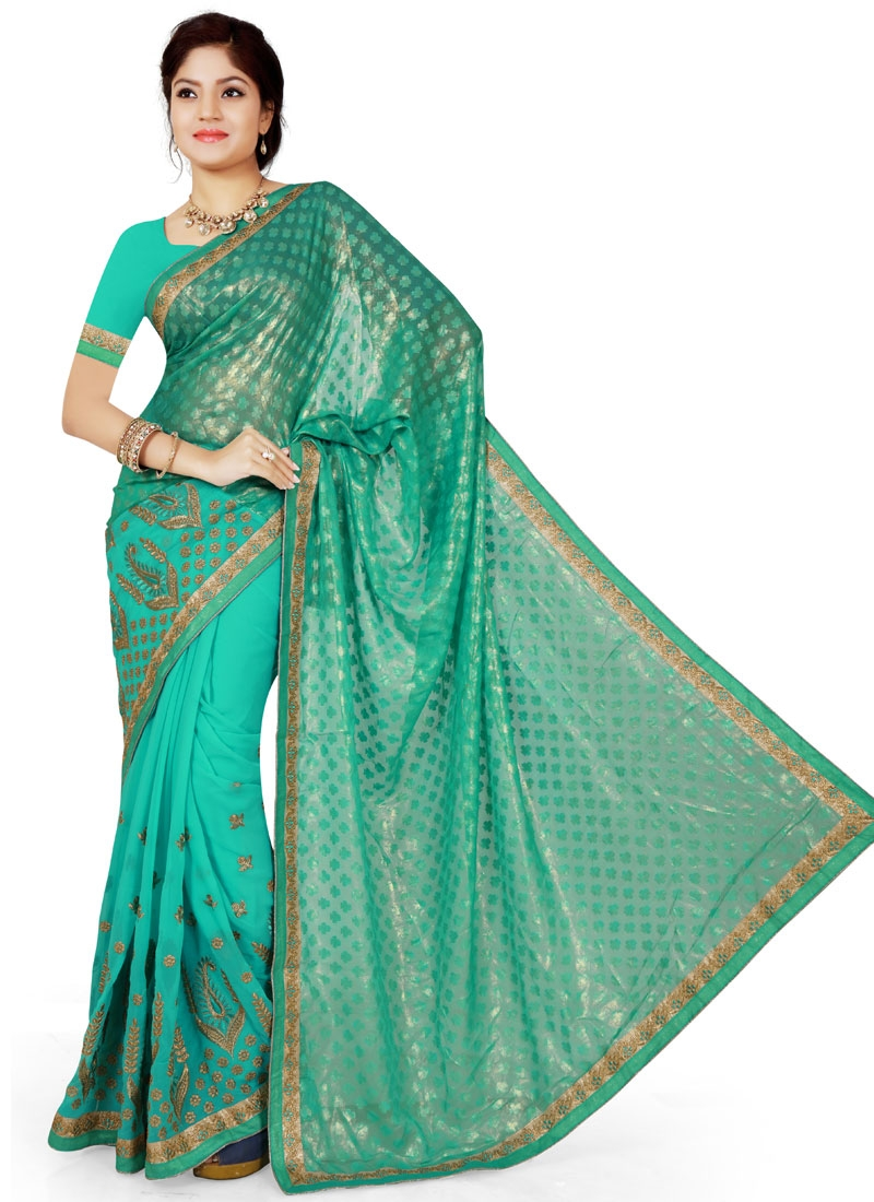 Exciting Lace And Resham Work Party Wear Saree