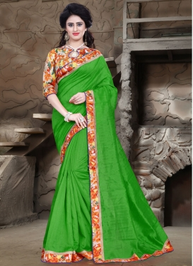 Exciting Lace Work Bhagalpuri Silk Casual Saree