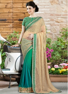Exciting Lace Work Silk Georgette Half N Half Designer Saree