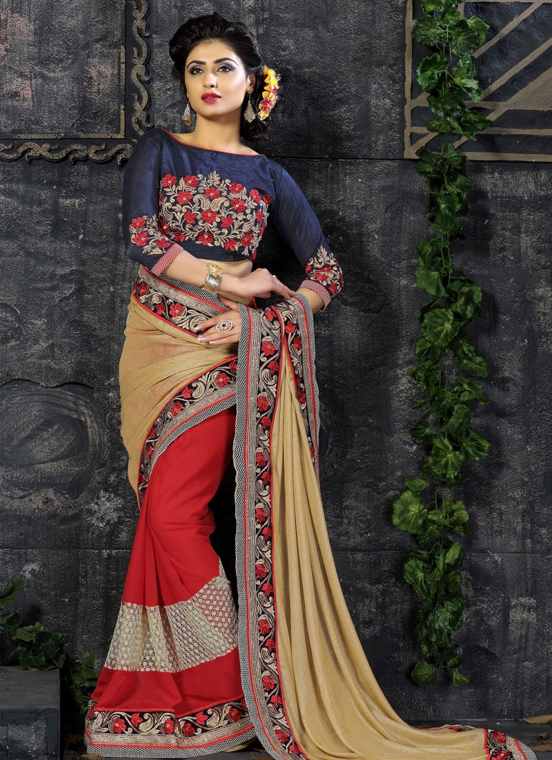 Exciting Lycra And Faux Georgette Half N Half Designer Saree