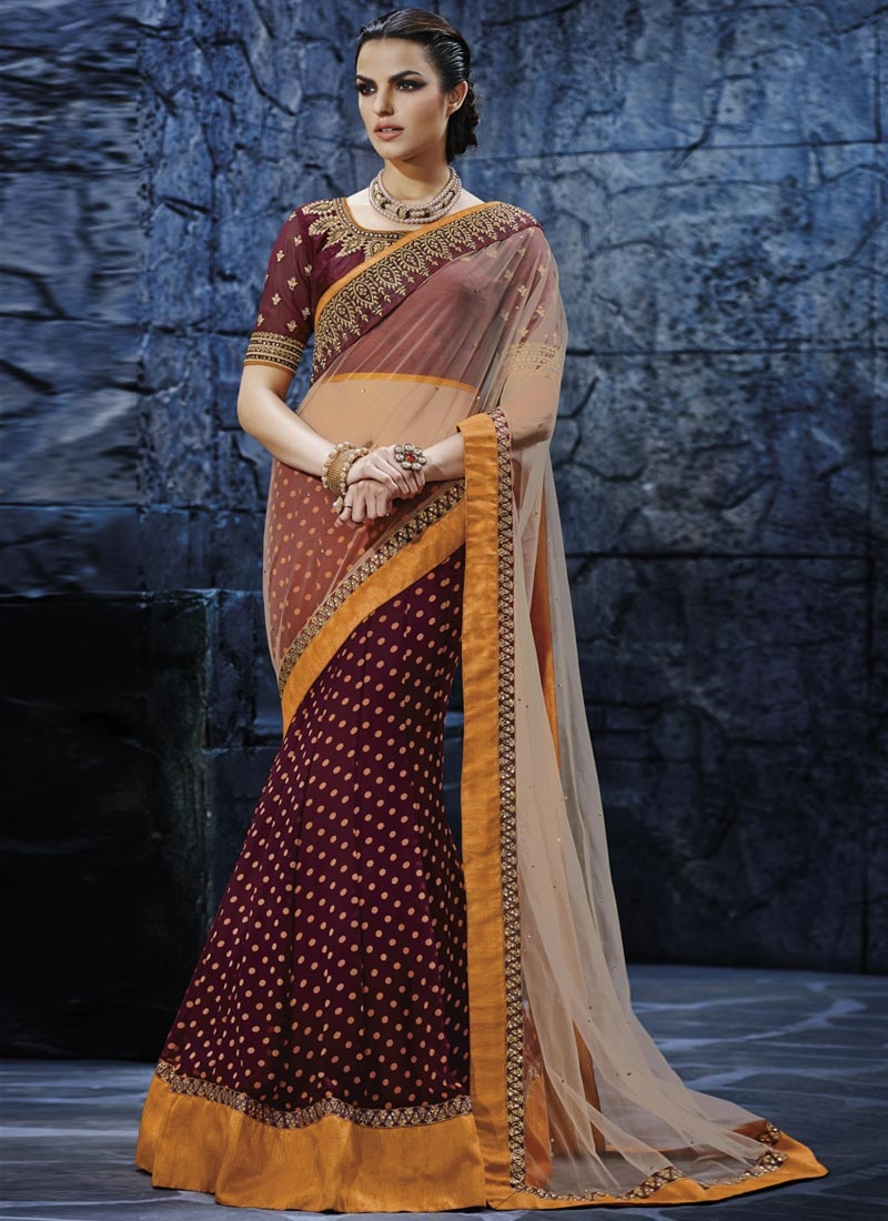 Exciting Maroon And Beige Color Lehenga Saree