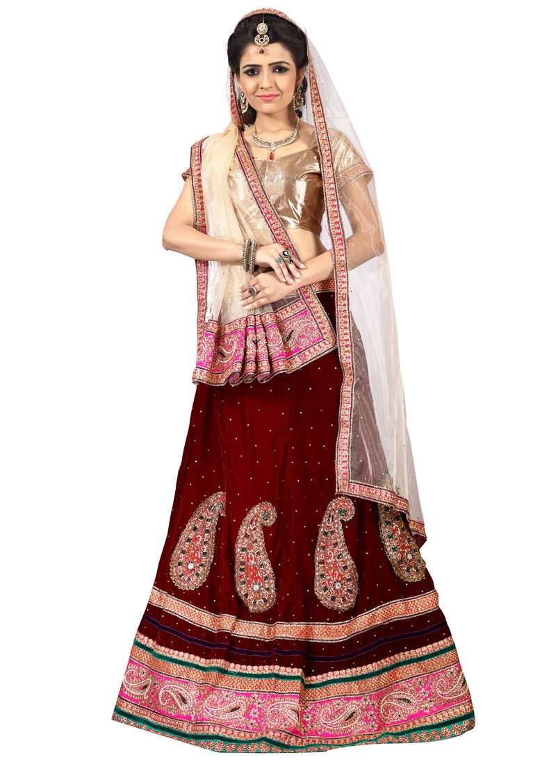 Exciting Maroon Color Velvet Designer Lehenga Choli