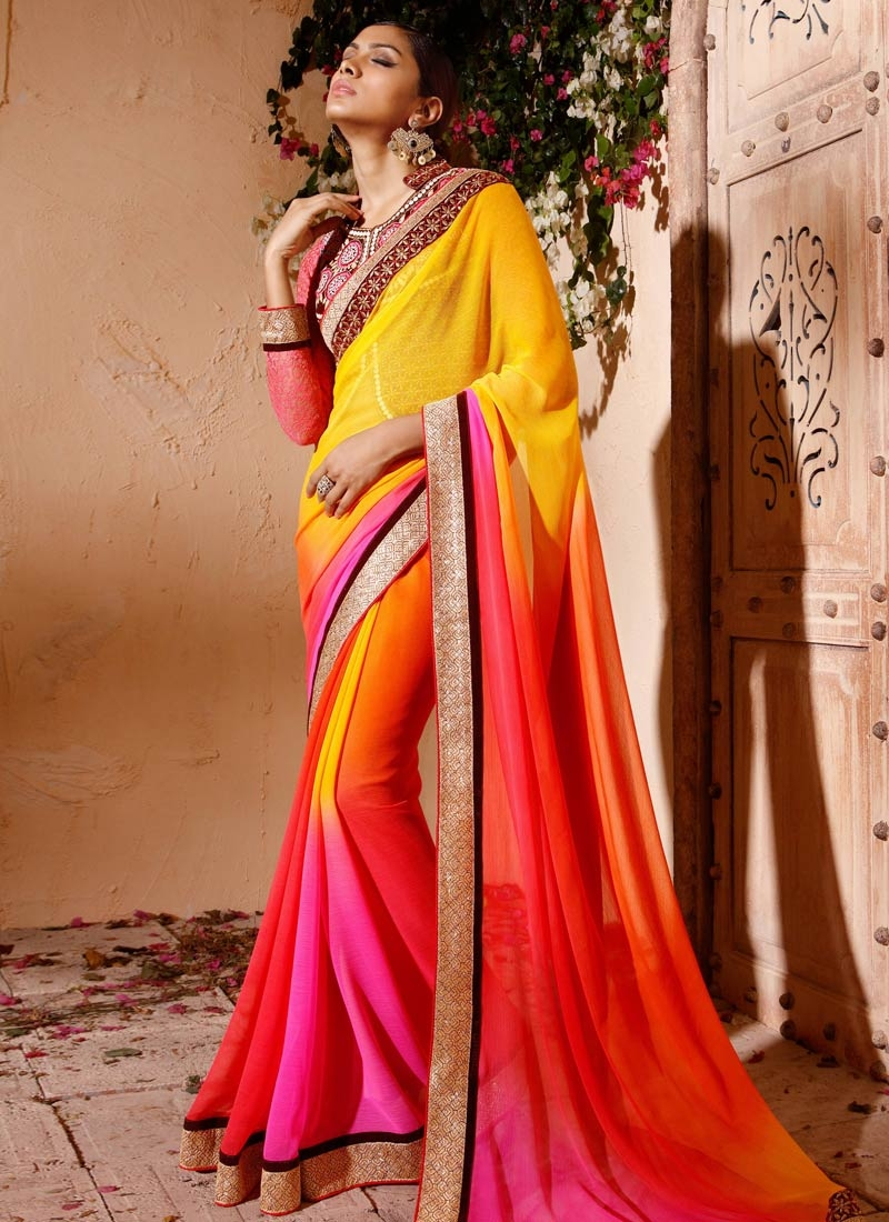 Exciting Multi Color Party Wear Saree