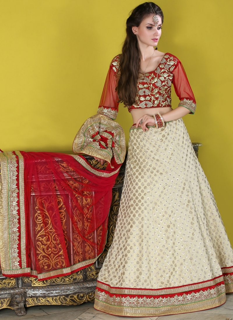 Exciting Off White Color Brocade Party Wear Lehenga Choli