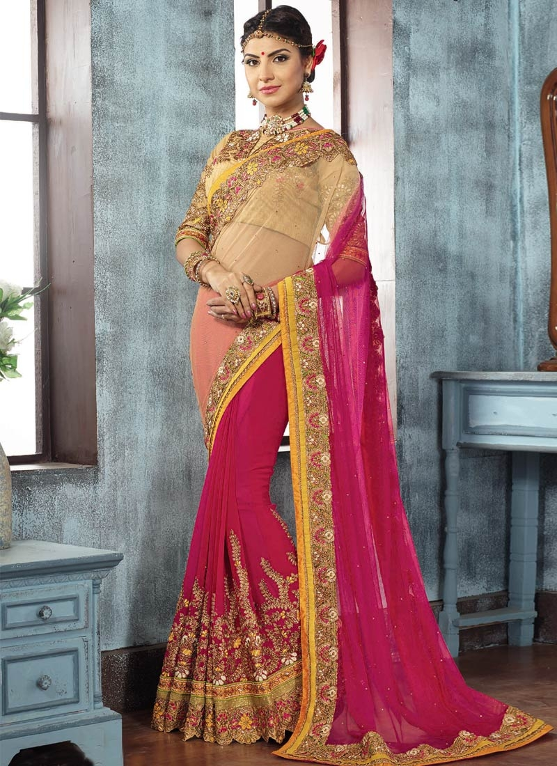 Exciting Patch Border And Resham Work Wedding Saree