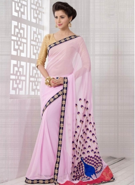 Exciting Pure Georgette Beads Work Party Wear Saree