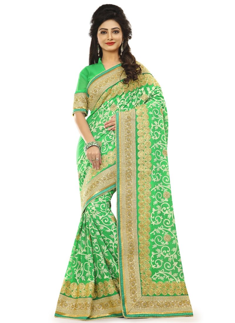 Exciting Pure Georgette Jaal Work Wedding Saree