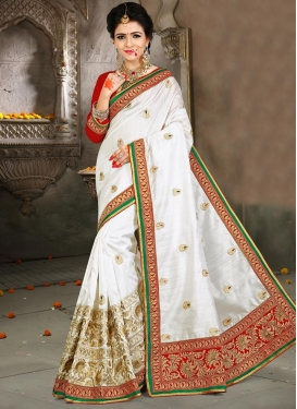 Exciting Red and White Bhagalpuri Silk Designer Contemporary Style Saree
