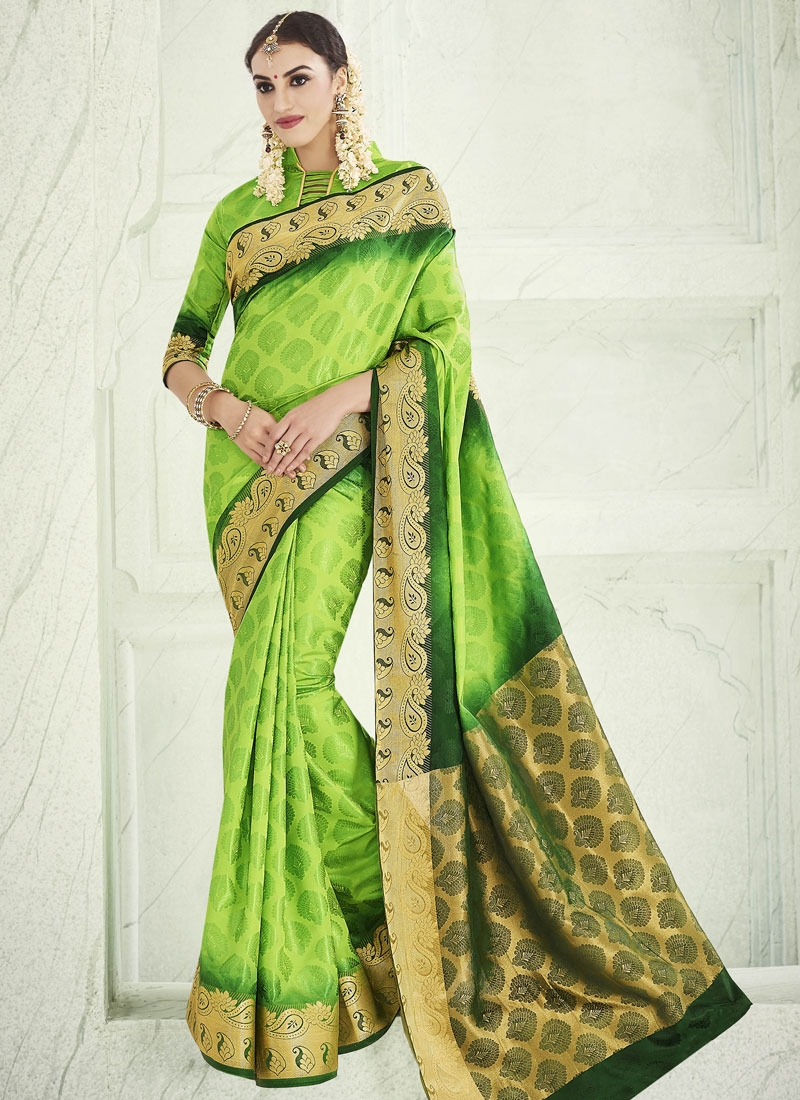 Exciting Resham Work Mint Green Color Party Wear Saree
