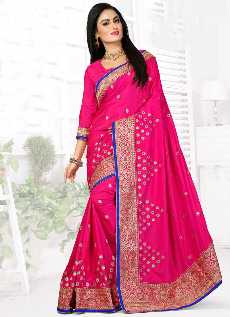 Exciting Rose Pink Color Art Silk Designer Saree