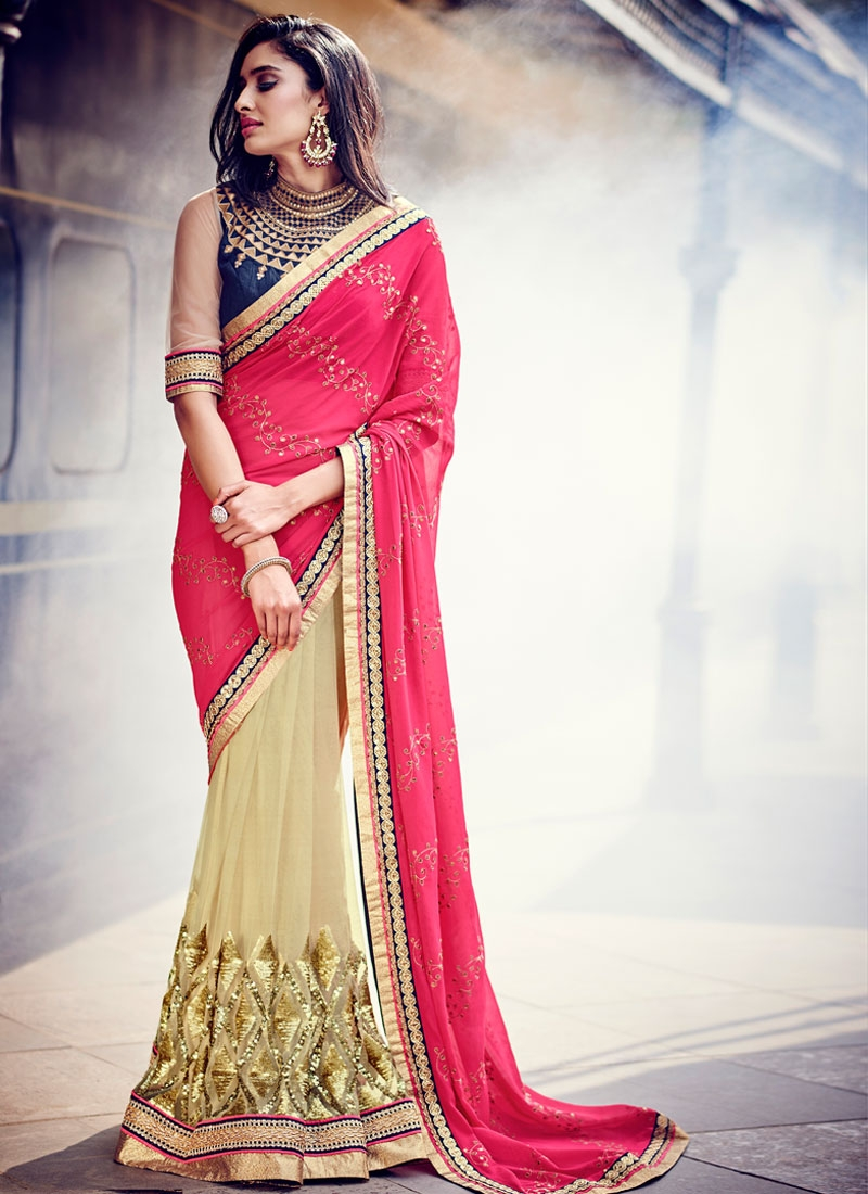 Exciting Sequins Work Net Half N Half Designer Saree